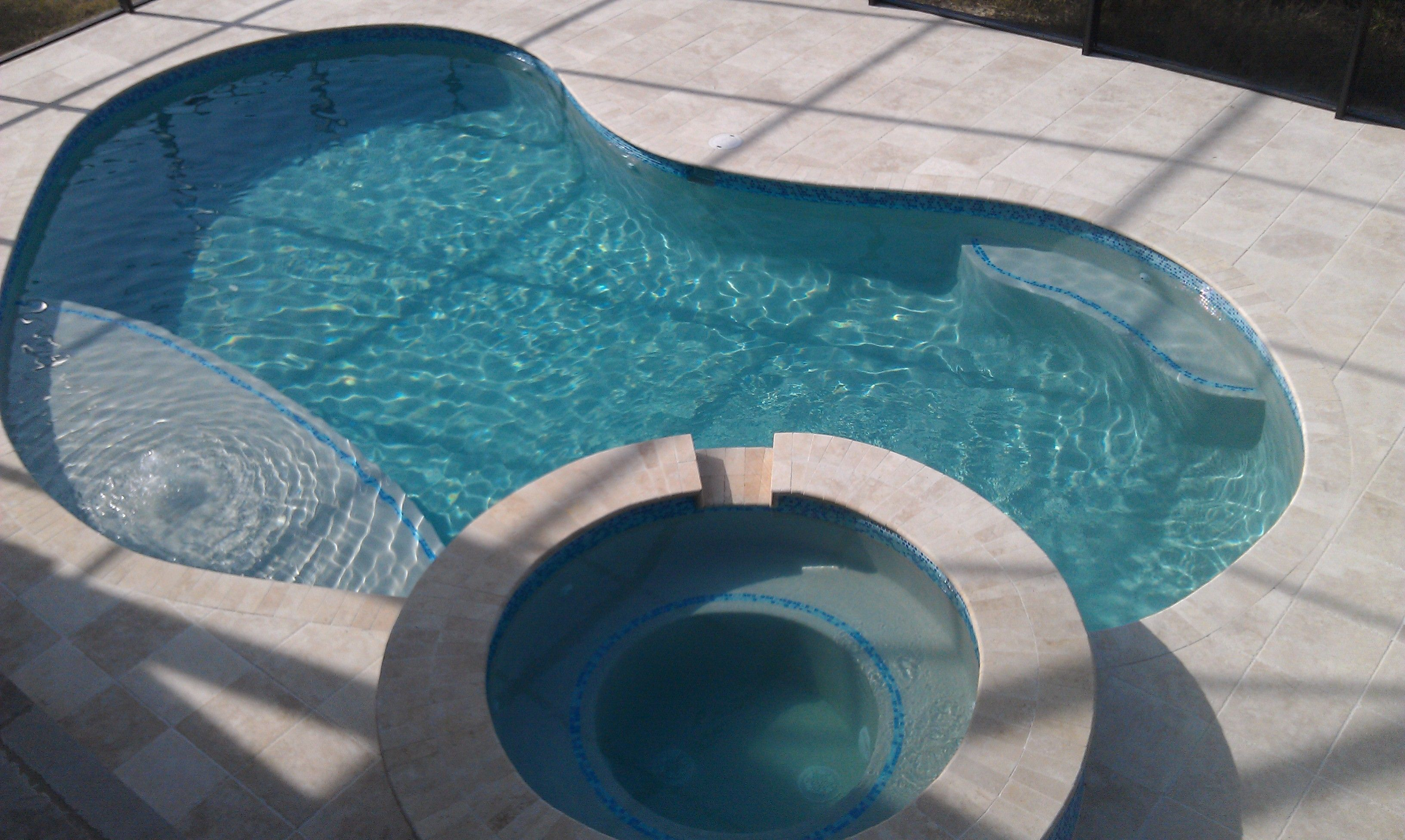 Tile Over Concrete Pool Deck Raised Spillover Spa Travertine Deck Sun Ledge Glass Mosaic