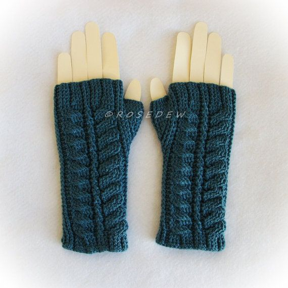 Crochet Modified Palm Fingerless Mitts in Teal Large by R0SEDEW on Etsy