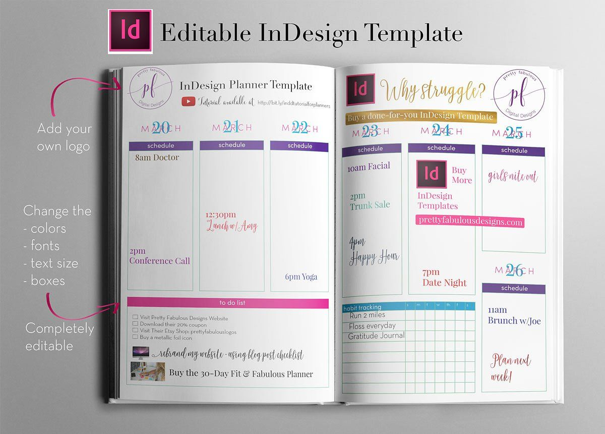 Weekly Calendar Indesign Template Indesign Templates Indesign Calendar Template
