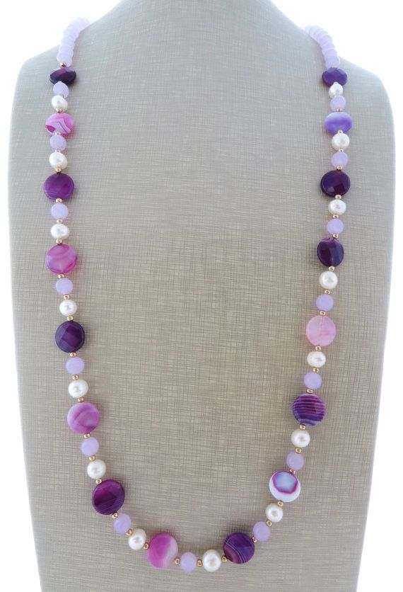 Agate necklace purple jade necklace freshwater by Sofiasbijoux
