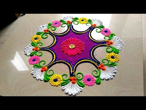 Rangoli designs easy with flowers/FESTIVAL'S rangoli for Diwali spacial