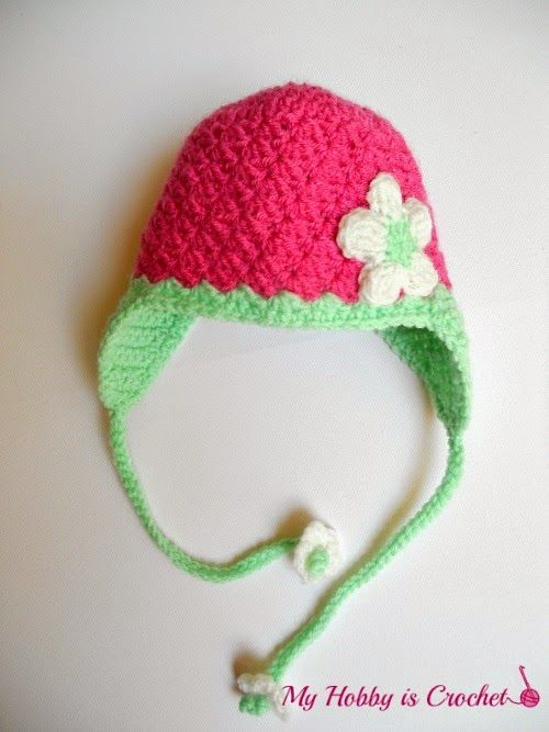 Blooming Strawberry Baby Earflap Hat 0-3 mo – Free Crochet Pattern ...
