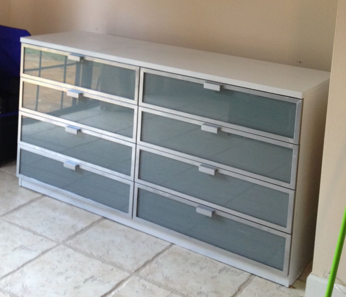 diy ikea hack spray paint a dark brown ikea hopen dresser with white and silver paint for a. Black Bedroom Furniture Sets. Home Design Ideas