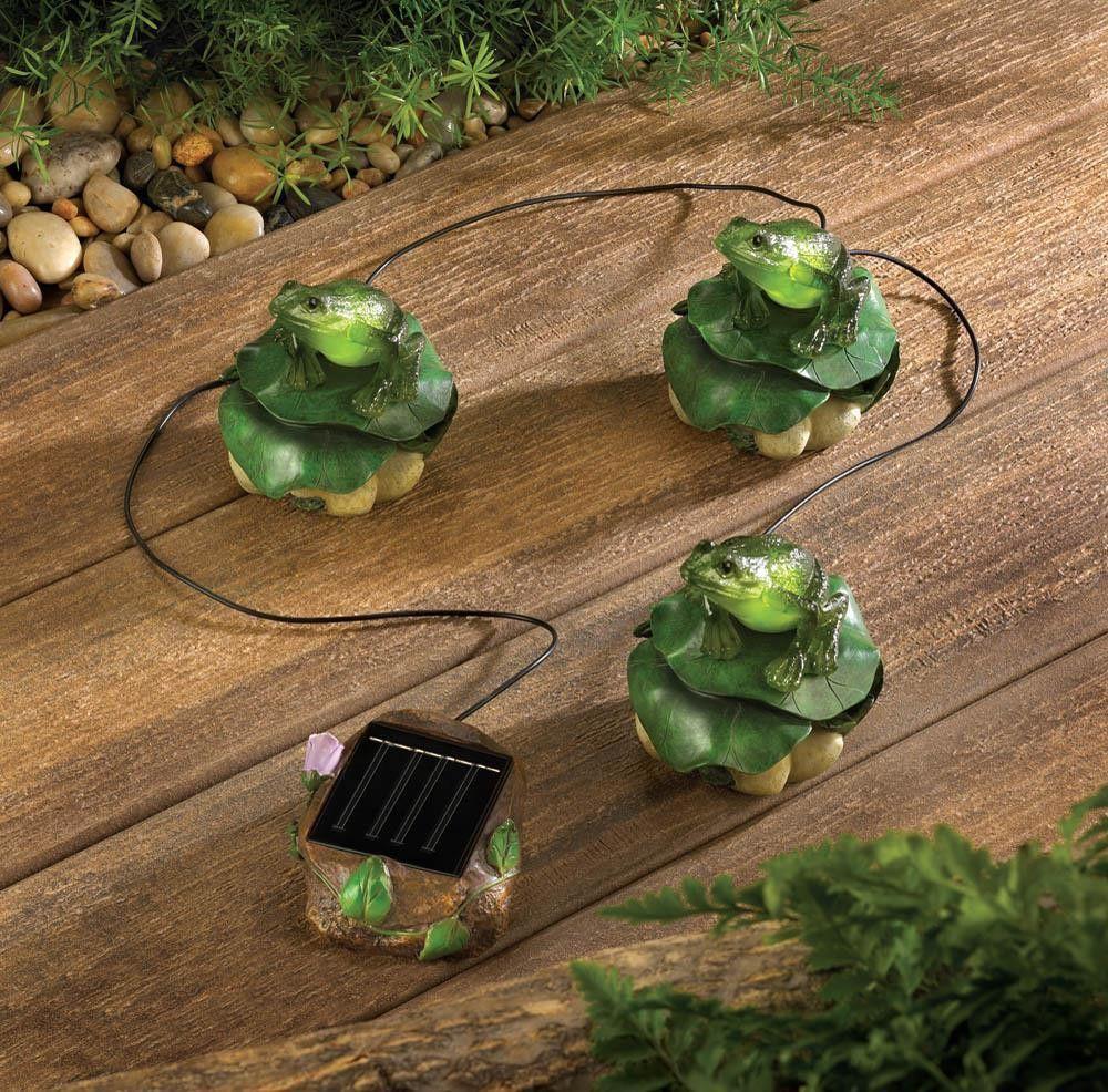 Solar Garden Trio Frogs On Lily Pads Solar Garden Decor 400 x 300