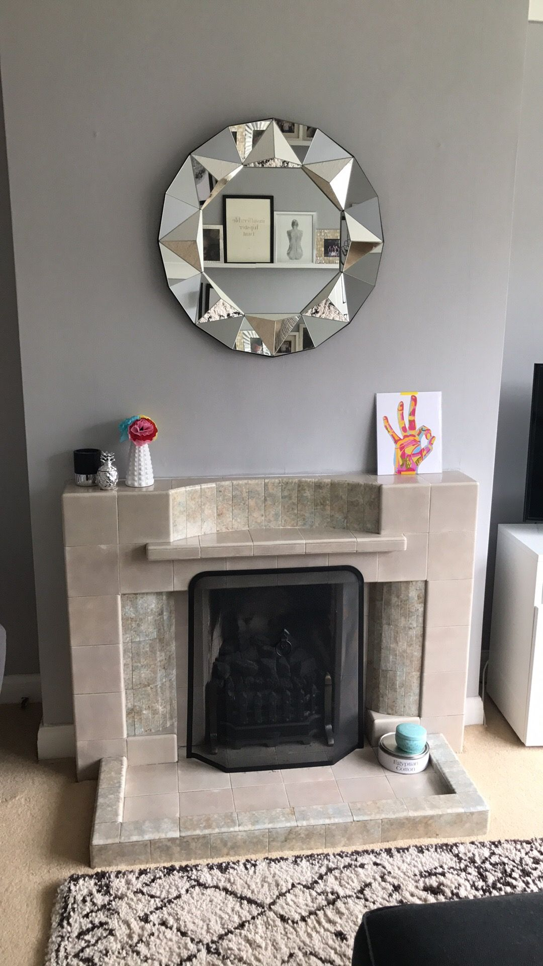 Mid Century Fireplace Walls Dulux Chic Shadow Mirror Argos Print Etsy Vase