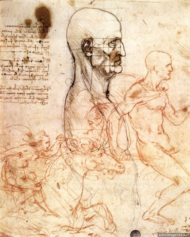 Perfil de un hombre y el estudio de dos jinetes  Italian painters