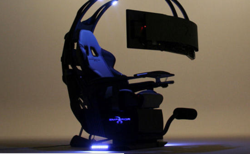 Three Screen Gaming Chair Gaming Desk Computer Set