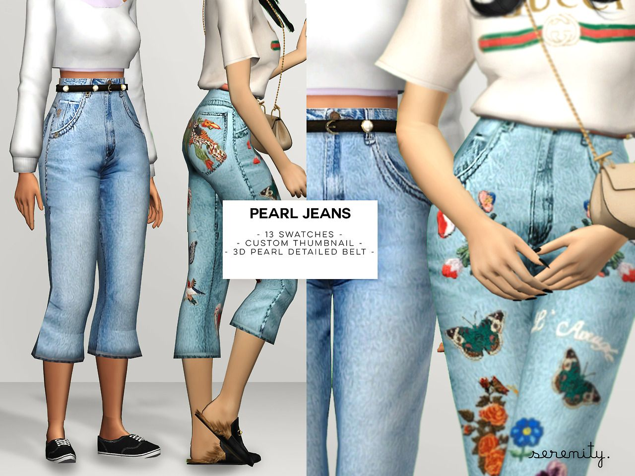 "serenity-cc:  "" PEARL JEANS  - custom thumbnail  - 13 swatches  - belt work smoothly with sliders!  hope you guys likee it! And don´t forget to tag me on your creations  DOWNLOAD AT MY WEBSITE thank to cc..."