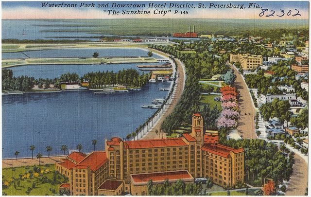 Waterfront Park And Downtown Hotel District St Petersburg Florida The Sunshine City Downtown Hotels Petersburg Old Florida