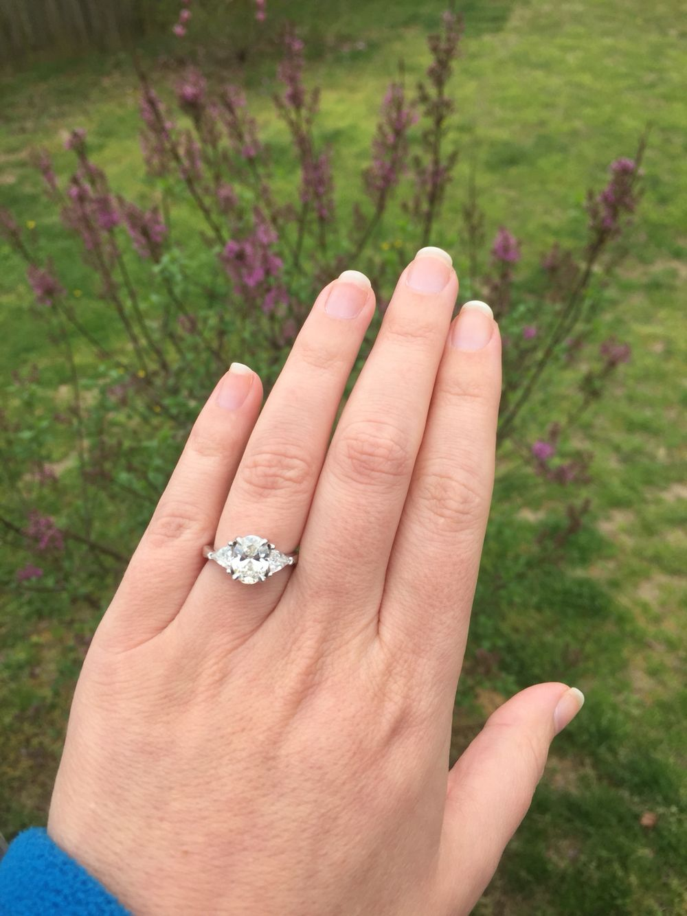 In love with my engagement ring!!!! 2 carat Oval cut diamond with ...