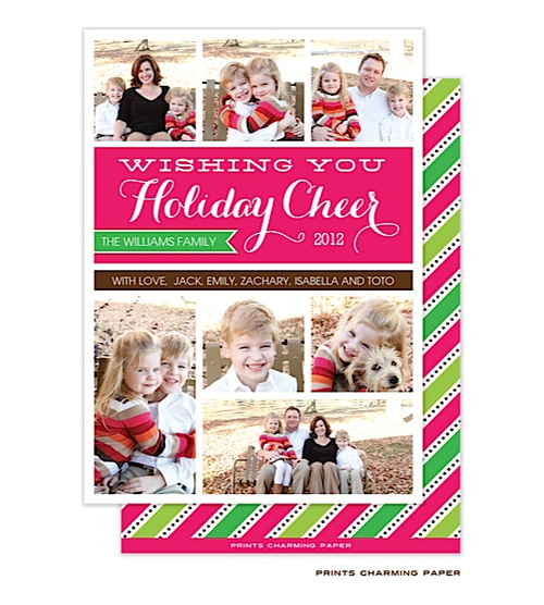 Prints Charming Paper   20% Off Flat Digital Holiday Photo Cards   Pink and Green Diagonal Stripes Flat Digital Photo Card (PrintsCharming)   The PrintsWell Store