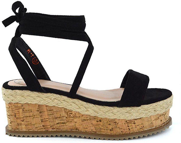d011d8c5c58 ESSEX GLAM Womens Lace Up Wedge Heel Sandals Espadrilles Ladies Gladiator  Flatform Shoes 3-8