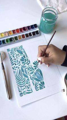 Plant doodle M letter - plant painting - watercolo