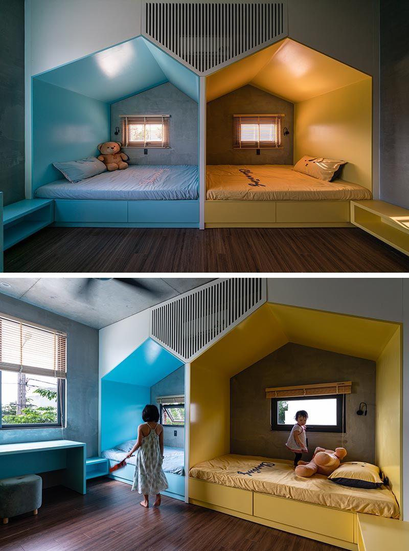 Shared Children S Bedroom Has Two Little Houses Built In