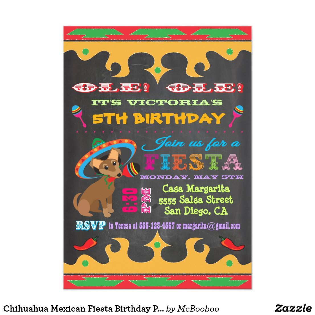 Chihuahua Mexican Fiesta Birthday Party Invitation ...