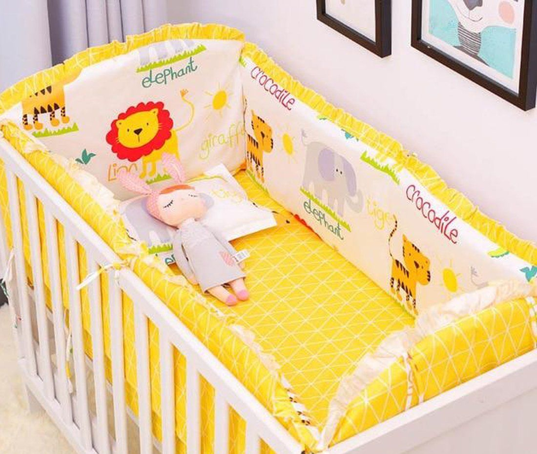 Crib Bedding 6 Pcs Baby Bumpers Cartoon Baby Bedding Sets Around Sheets Infant