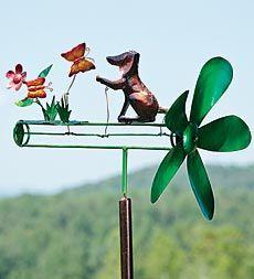 Dog With Butterflies Garden Whirligig
