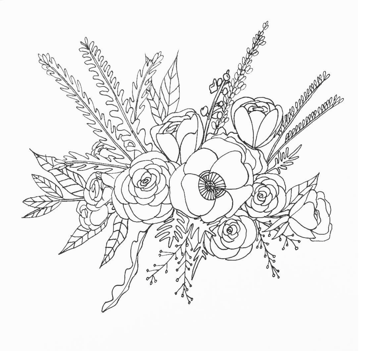 Flower Circle Line Drawing : Line drawing flower illustration floral bouquet art