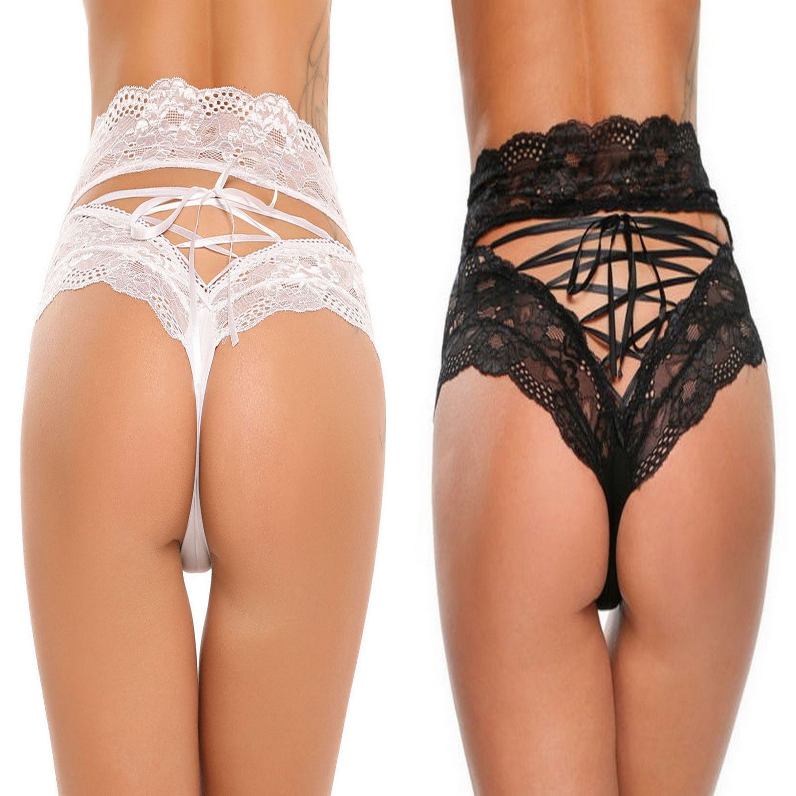 b0bec2133 SEXY WOMENS LINGERIE LACE BRIEFS WITH LACE UP BACK PANTIES UK 8 10 12 14 16  This fabulous lace high-waisted thong creates a beautiful silhouette.