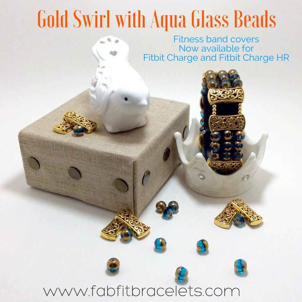 *NEW* Gold Swirl with Aqua Glass Bead Fitness band covers!  Now available for Fitbit Charge and Fitbit Charge HR!
