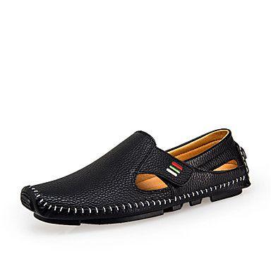 0f310439888010 Men s Shoes Spring   Summer Comfort Leather   Light Soles Walking Sandals  White   Black   Blue