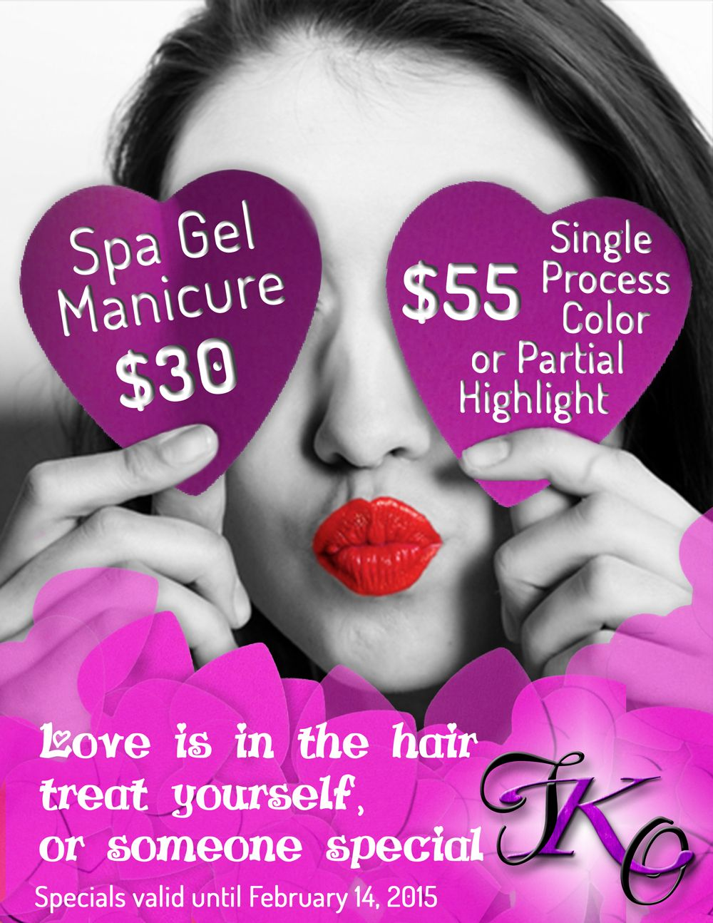 Valentine's Day specials at Total Knockout Salon! Call to