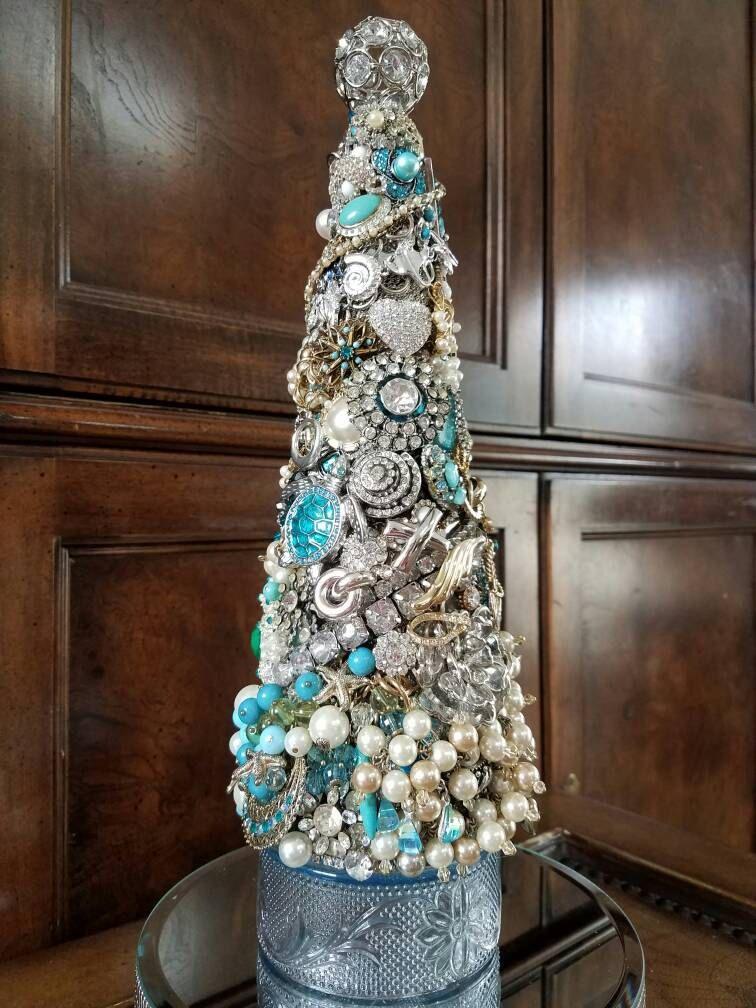 Jeweled Christmas Tree, gift, romantic, vintage, rhinestone ...