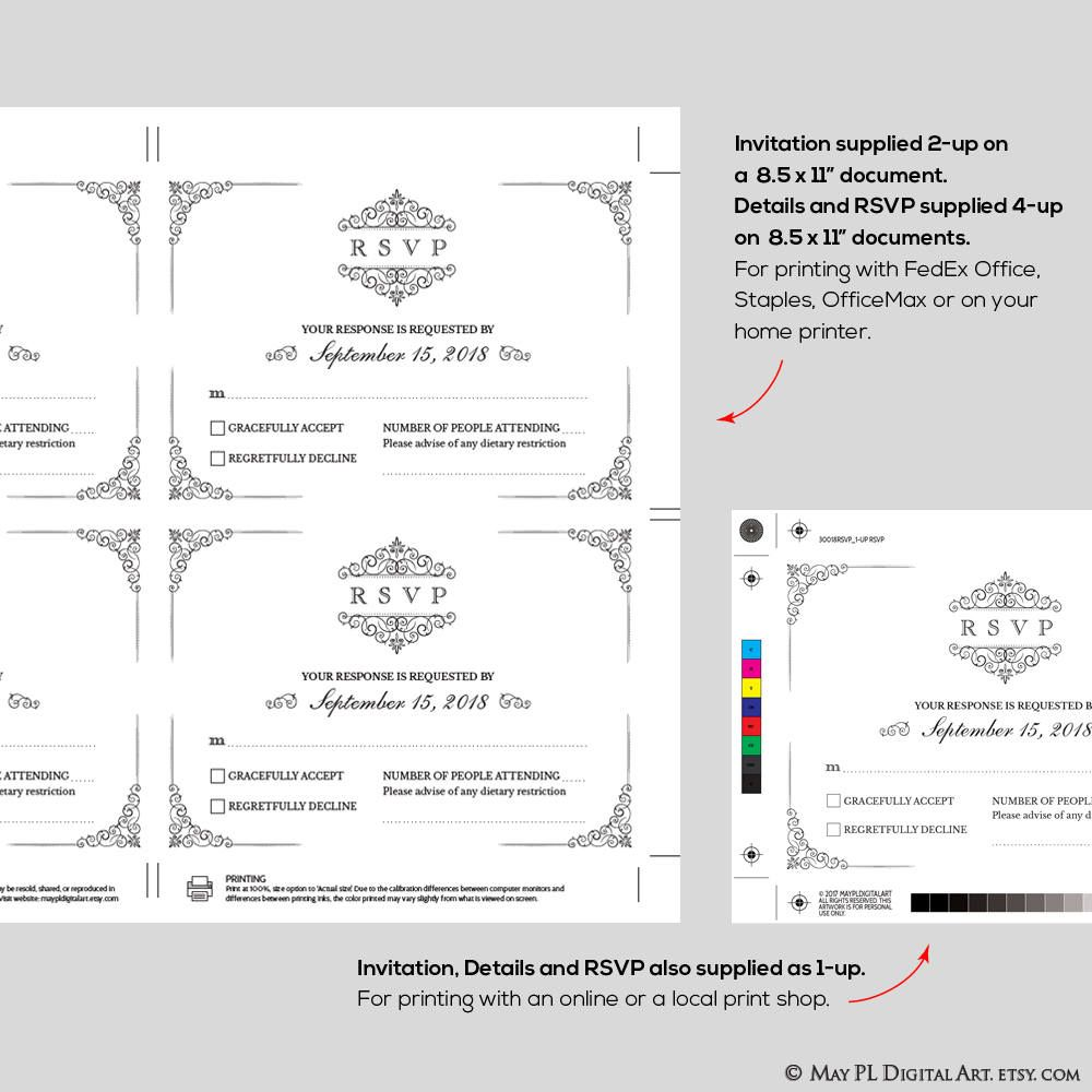 rsvp and details card templates supplied as 1 up and 4 up