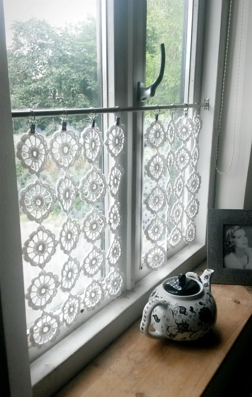 lace crochet cafe curtain hanging window valance net panel ...