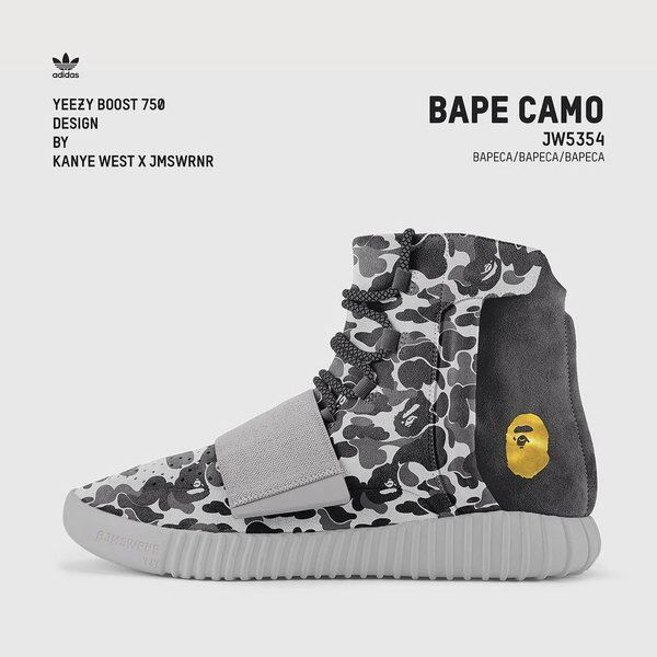 Kanye West X James Warner Custom Adidas Yeezy 750 Boost X Bape