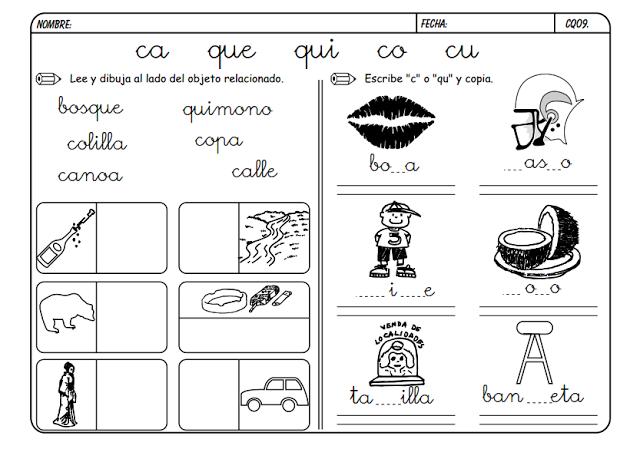 Maestra de Primaria: Fichas para trabajar CA, QUE, QUI, CO, CU ...