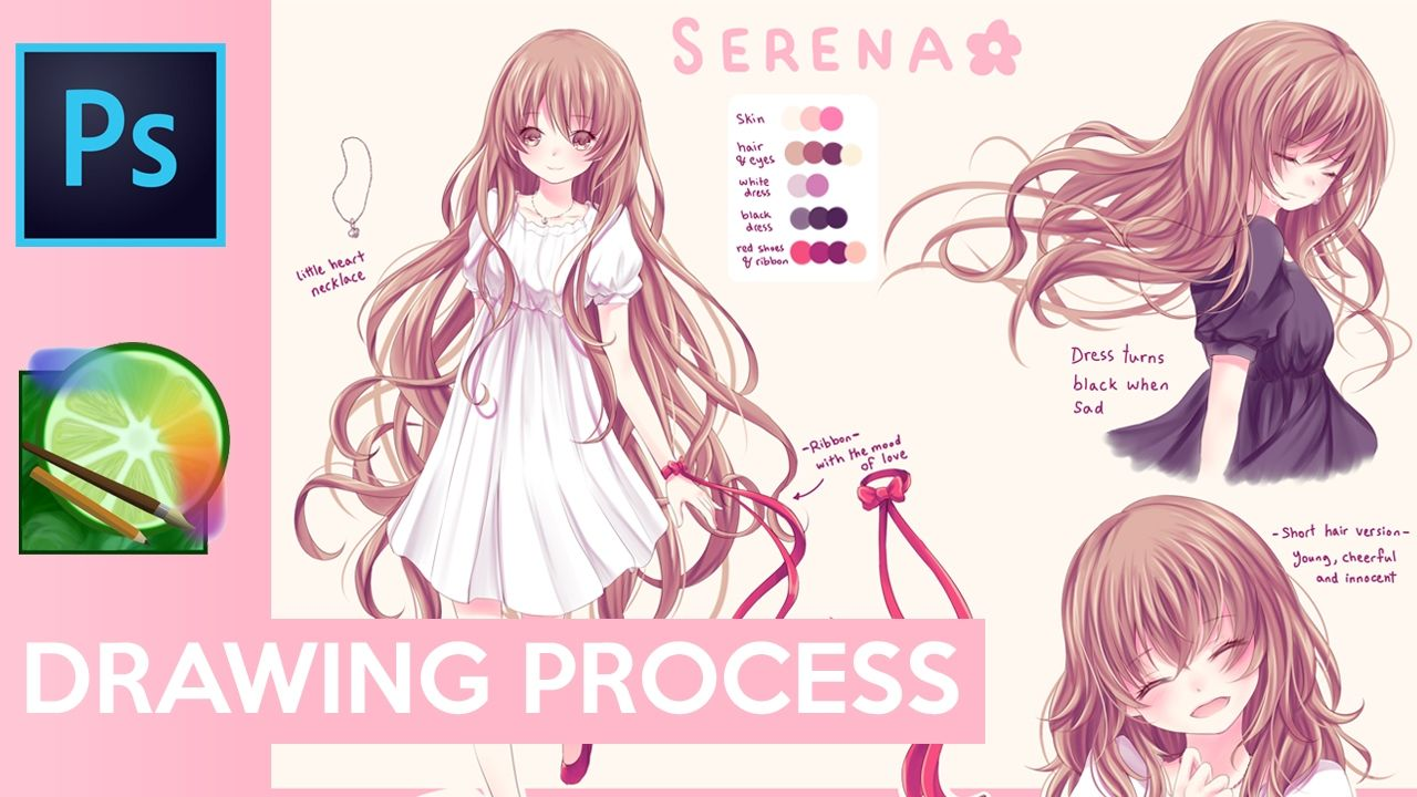 Painttool Sai Serena Oc Reference Sheet Drawing Process