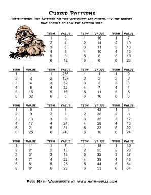 Halloween Cursed Number Patterns A Halloween Math Worksheet Halloween Math Worksheets Math Patterns Math Worksheets