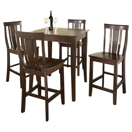 You should see this Union 5 Piece Counter Height Dining Set in Vintage Mahogany on Deals + Modern Design Ideas | AllModern