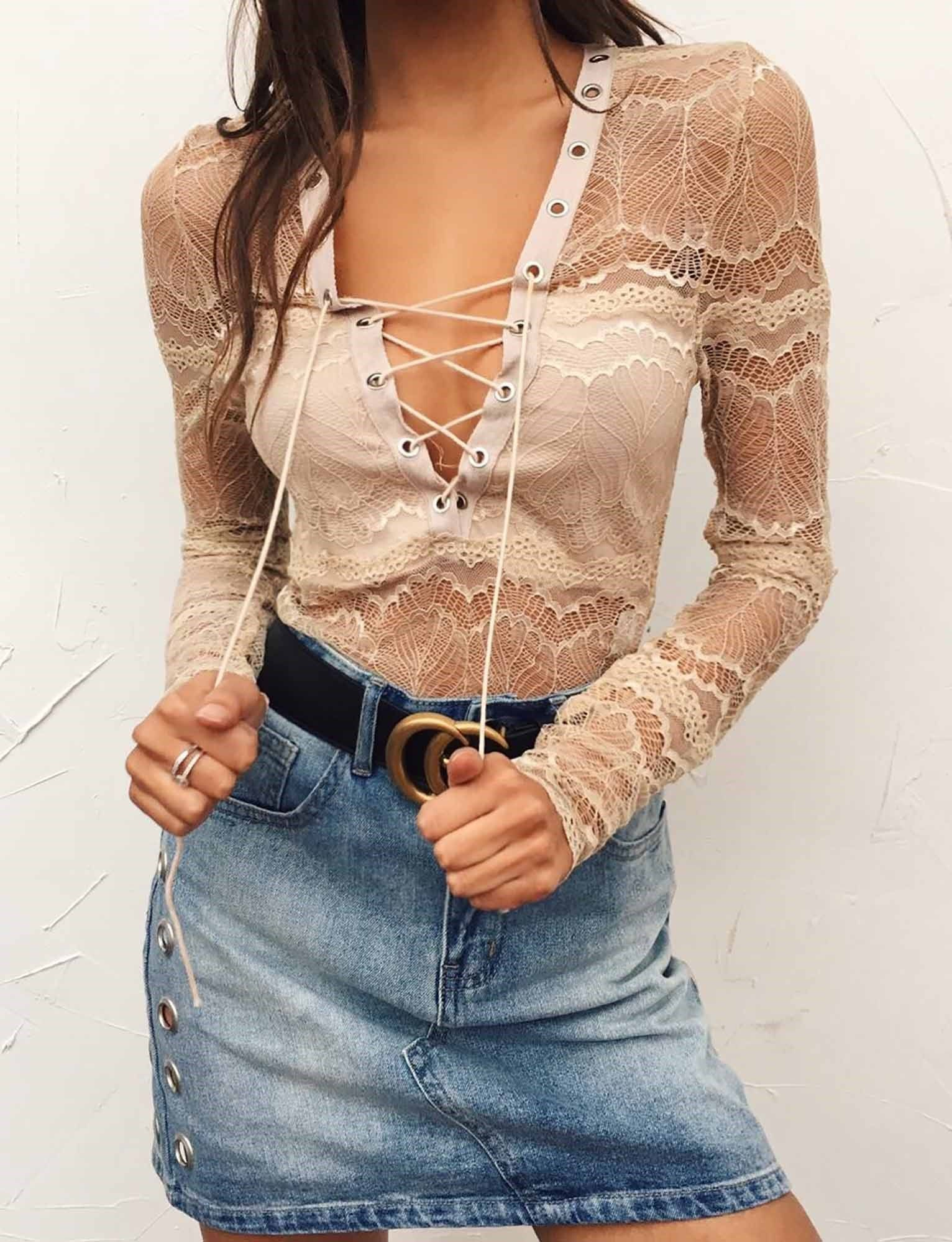 Lace bodysuit with high waisted jeans  Shady Lady Bodysuit  F A S H I O N  C L O T H I N G  Pinterest