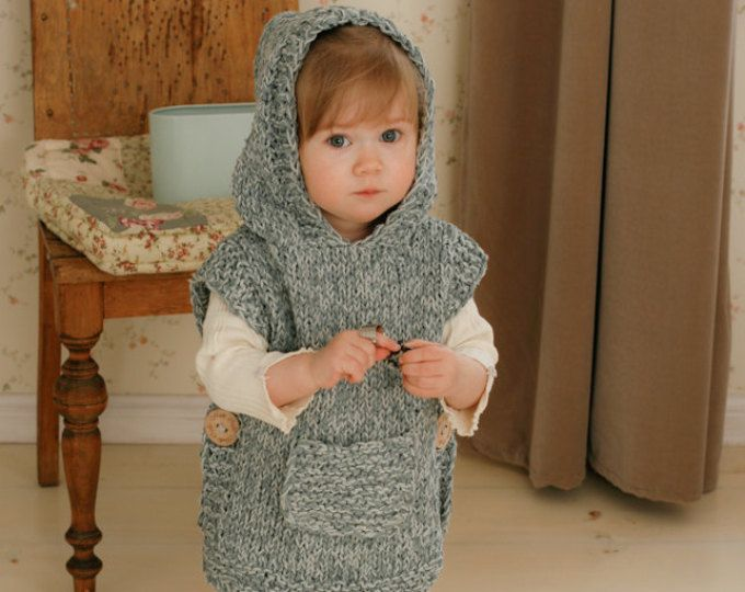KNITTING PATTERN chunky hooded poncho Phoebe (toddler, child, adult ...