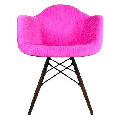 eModern Decor Velvet Fabric Arm Chair with Wood Legs Color ...