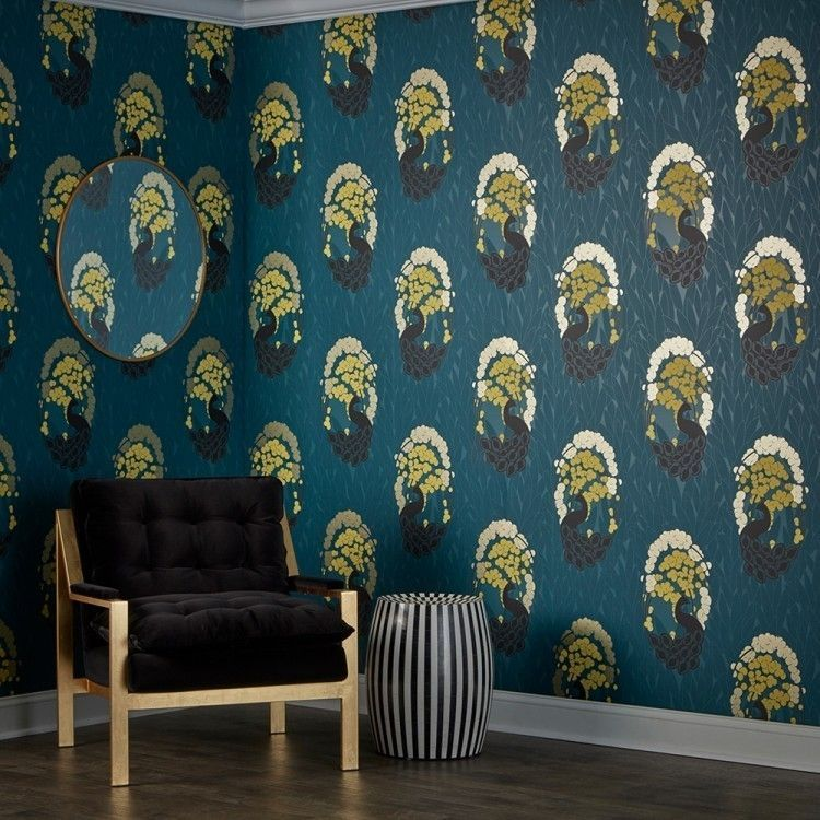 Deco peacock pacific Peel, stick wallpaper, Gold