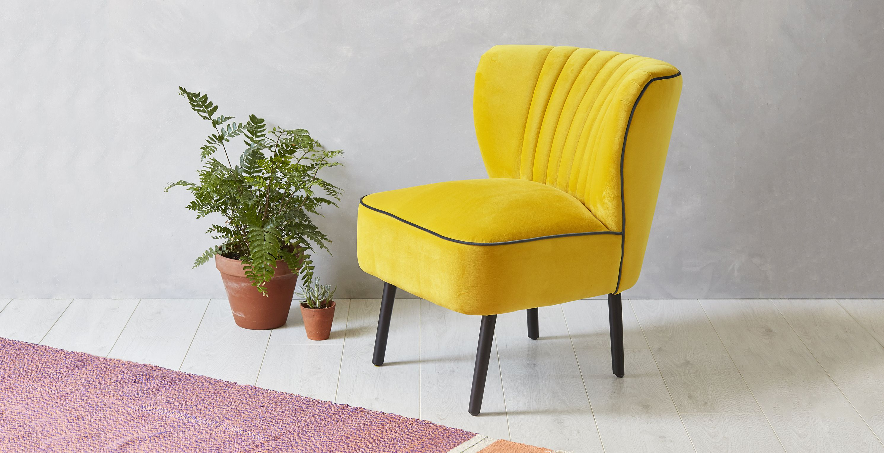Dimensions H73 x W61 x D70cm seat height 43cm Colour Yellow