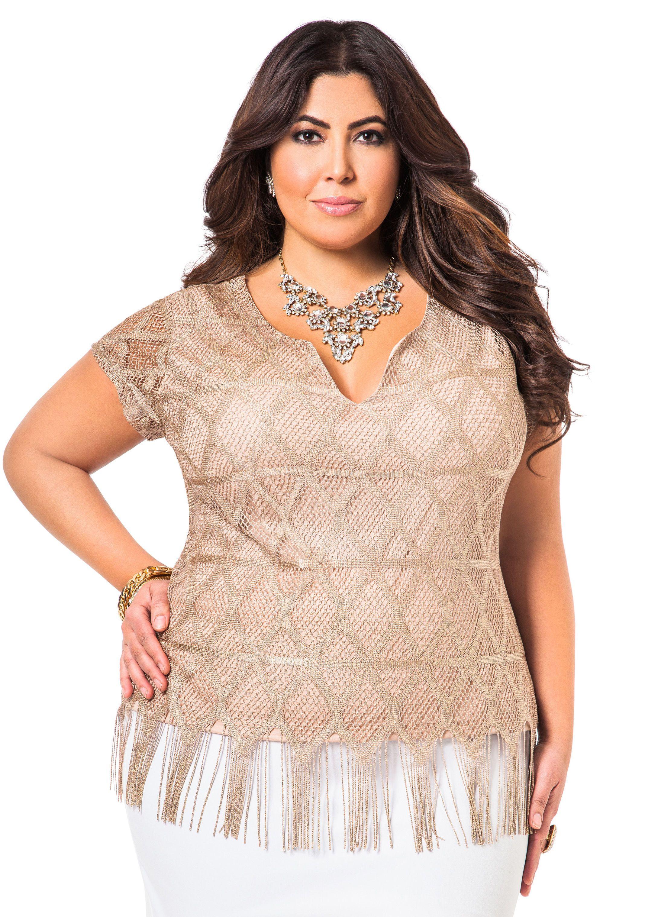 a38e06ba595d Scalloped Crochet Top - Ashley Stewart   Jessica Milagros   Fashion ...