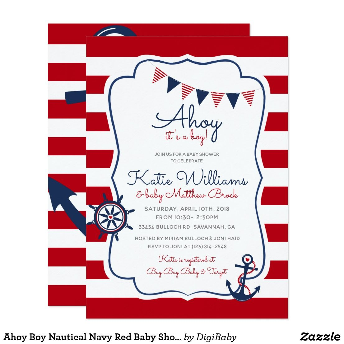 Ahoy Boy Nautical Navy Red Baby Shower Invitation. Customize your ...