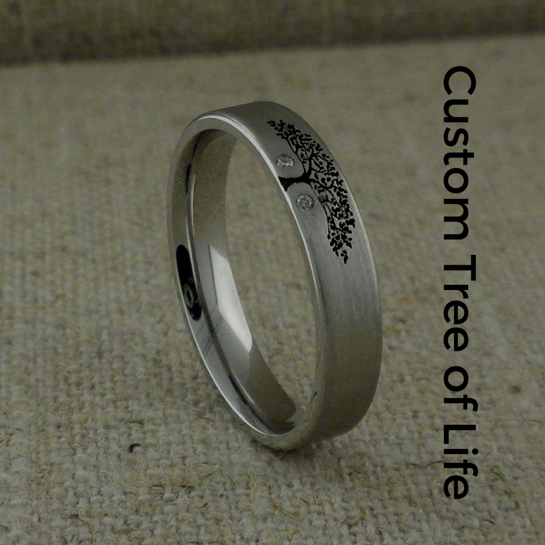 Custom Tree of Life Wedding Ring in Cobalt Chrome with two