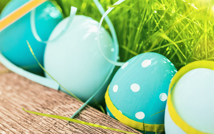 Download Wallpapers Easter Blue Eggs Green Grass Spring Decoration April