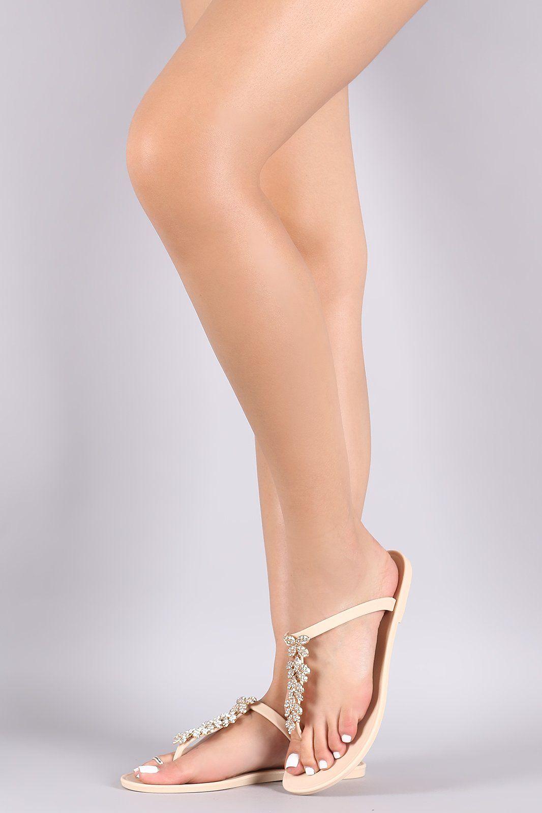 1f6fbb016 Rhinestone Accent T-Strap Jelly Thong Flat Sandal