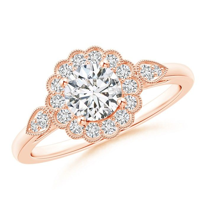 Angara Three Stone Round Diamond Fleur De Lis Engagement Ring v2siztq
