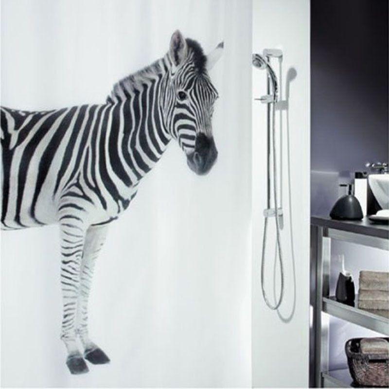 Zebra Design Waterproof Curtain
