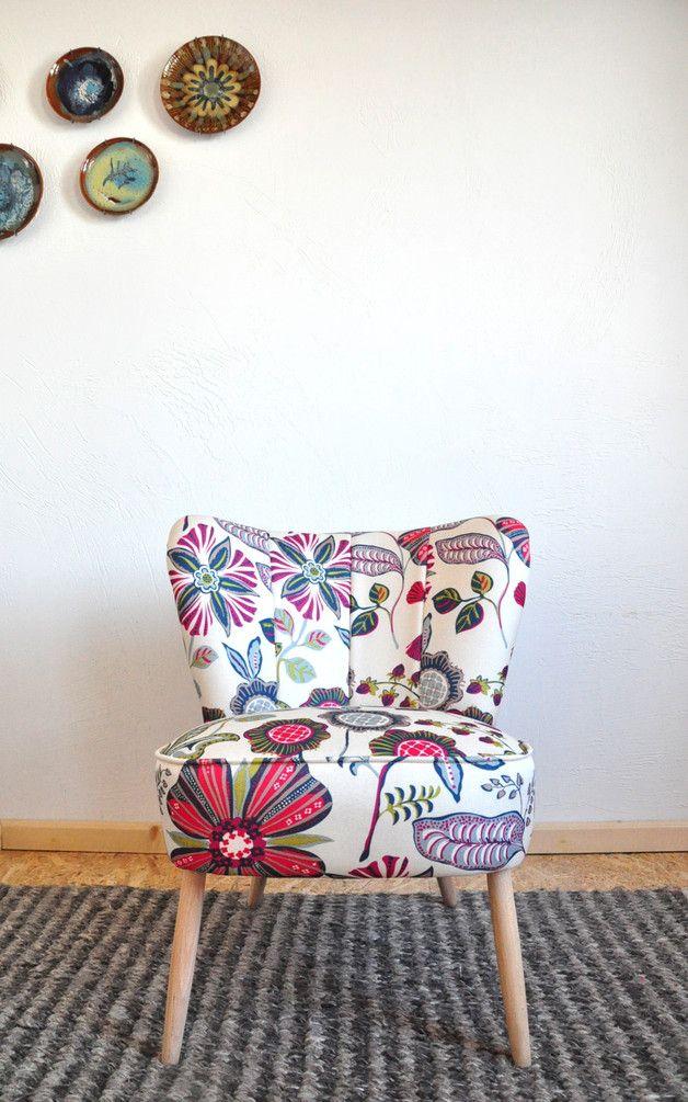 Sofas & Armchairs – Fotel koktajlowy vintage kwiaty – a unique product by PRACOWNIA-REBORN on DaWanda