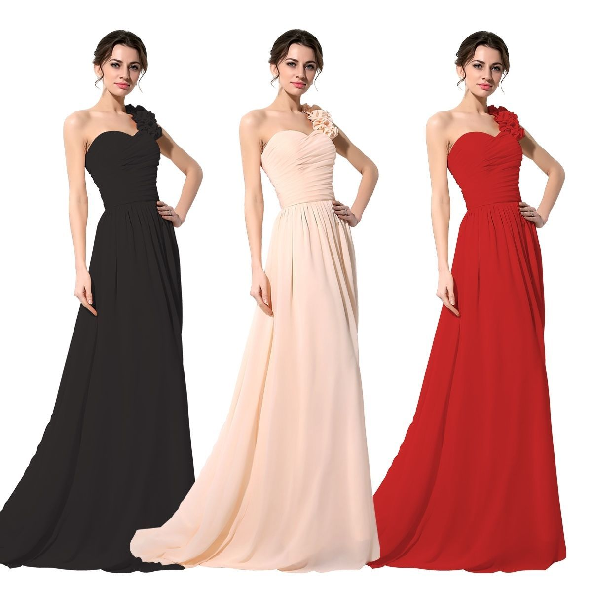 Dress for wedding party 2018  Nice Awesome US Stock One Shoulder Evening Bridesmaid Dresses