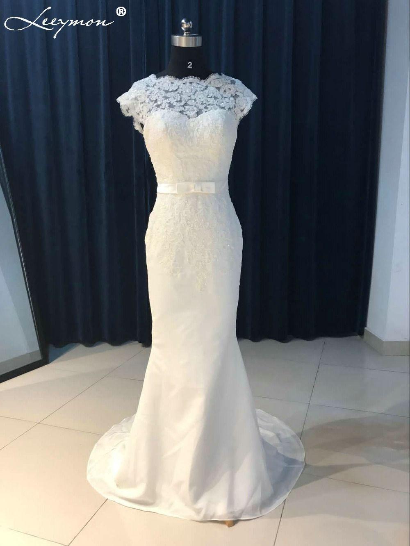 Lace mermaid wedding dress with train  Vintage White Lace Backless Detachable Train Mermaid Wedding Dress