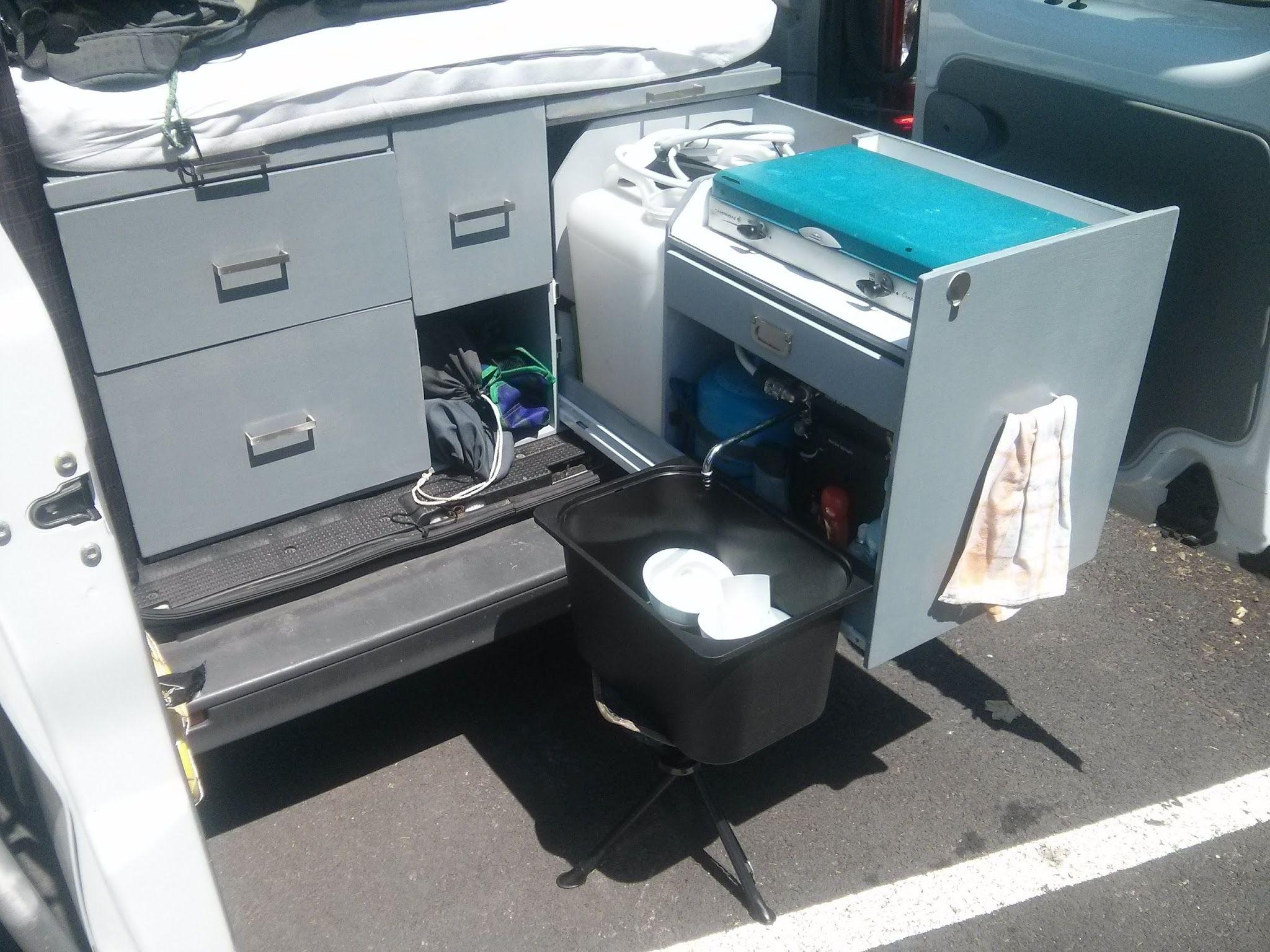 Coin cuisine ext rieur tout en un dans un tiroir trafic - Camion amenage pour cuisine ...